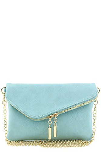 Envelope Wristlet Clutch Crossbody Bag with Chain Strap (Bluebell)