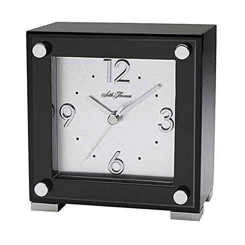 Seth Thomas TBK005050 Table Clock Black Piano Finish Square Home & Garden Improvement by Seth Thomas