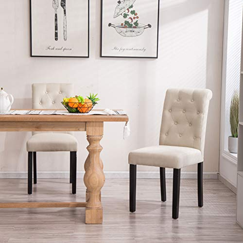 Beige Chairs Parson - YEEFY Fabric Habit Solid Wood Tufted Parsons Dining Chair (Set of 2) (Beige)
