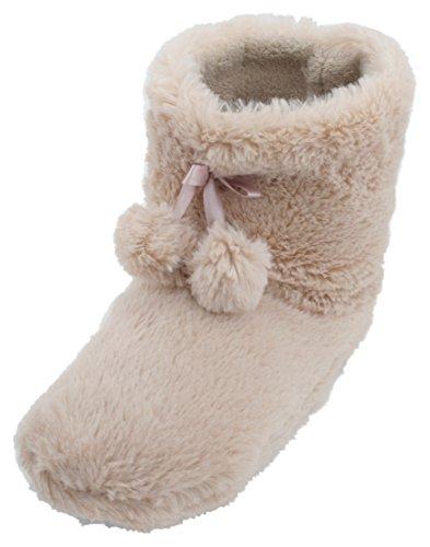 Slumberzzz In Da Morbida Pile Donna Beige Pantofole Foderato Stivaletto Z7rrWCBn