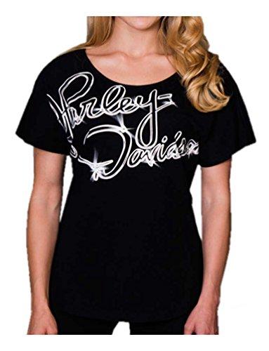 Cloth Flow (Harley-Davidson Women's Free Flow Premium Dolman Embellished Tee, Black (L))