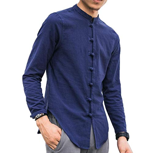 Mens Cotton Linen Long Sleeve Shirt Solid Loose Banded Collar Button Tai Chi Top(Blue,Bust:46