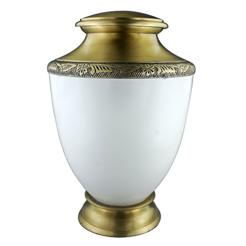 MEILINXU Funeral Cremation Urn Engraved Urns for Human Ashes Adult and Memorial - Brass with Hand Carving - Display Burial Urns at Home or in Niche at Columbarium (Golden and (Urn Home Decor)