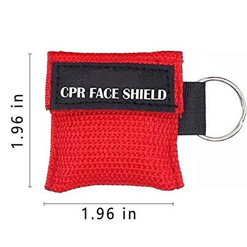 Pack of 50pcs CPR Mask Keychain Ring Emergency Kit CPR Face Shields for First Aid or CPR Training (Red-50)