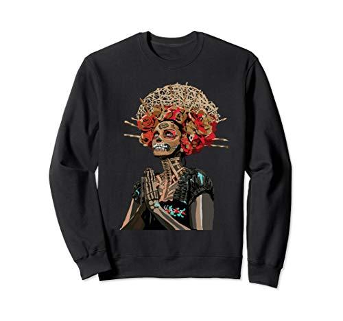 Graphic Fashion Flower Sugar Skull Rose Eyes Day of The Dead Sweatshirt]()