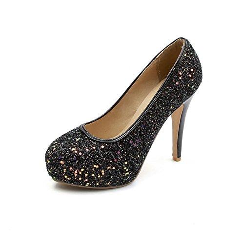 Punta con zapatos con código de tamaño ultra-fina solo zapatos novia black