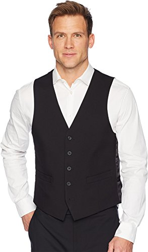 Kenneth Cole REACTION Men's Techni-Cole Stretch Slim Fit Suit Separate (Blazer, Pant, and Vest), Black Vest, Medium -