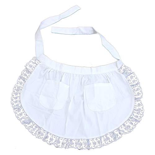 Monrocco White Lace Flower Cotton Half Apron Kitchen, Half Waist Apron with Pocket Victorian Maid Costume for Women