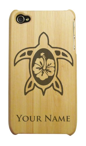 Engraved Bamboo iPhone 4/4S Case/Cover - HAWAIIAN SEA SURTLE, HAWAII - Personalized for FREE (Send us an Amazon email after purchase with your engraving request)
