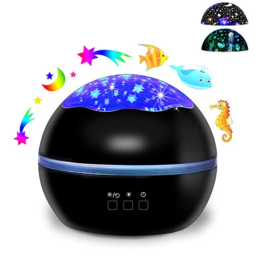 Ocean World/Star Moon 2-in-1 Multi-Function LED Projector Lamp, 360° Rotation Night Lights with 8 Colors Mode Black from iAVO