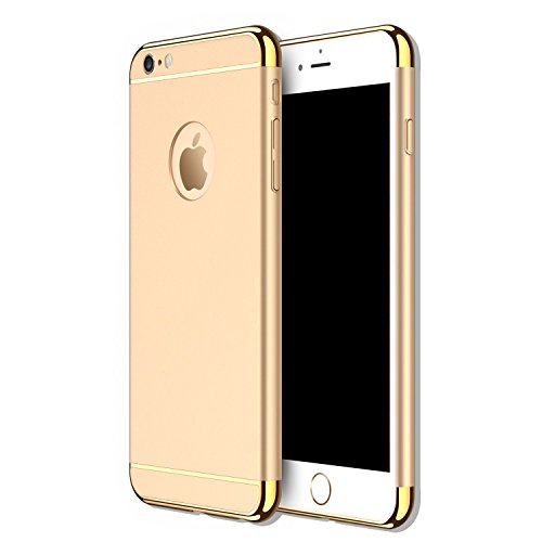 Iphone 5s Costume (iPhone 5 5S SE 3 in 1 Hard Case, Anyos Electroplate Ultra-thin Shockproof Protective PC Cover for iPhone 5 5S SE 4.0 inch (Gold))