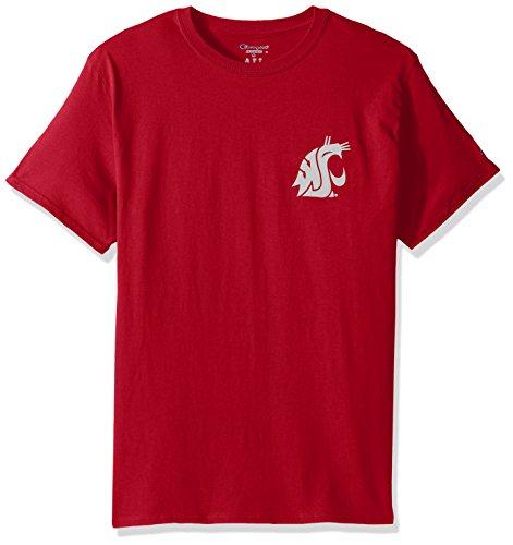 Graphic Cotton Short Sleeve Tee - Champion NCAA Team Tagless Cotton Short Sleeve Front/Back Graphic Tee, Washington State Cougars, X-Large