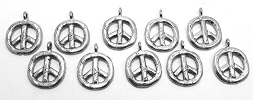 Set of Ten (10) Silver Tone Pewter Peace Pendants