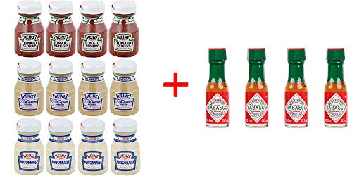 Ultimate Miniature Condiments Combo (Ketchup, Mustard, Mayonnaise and Tabasco) 4 Bottles each - Pack of 16