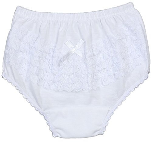 Little Girls Kids Toddler Ruffle Lace Underwear Rumba Panty Diaper Cover White 3 Years (Ruffled Panty)