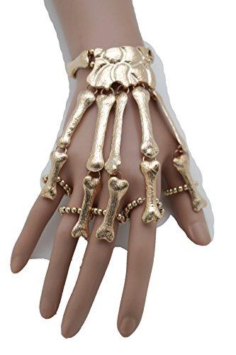 TFJ Women Gold Metal Hand Chain Slave 5 Rings Fingers Bracelet Skeleton Skull Bones (Biker Dude Halloween Costume)