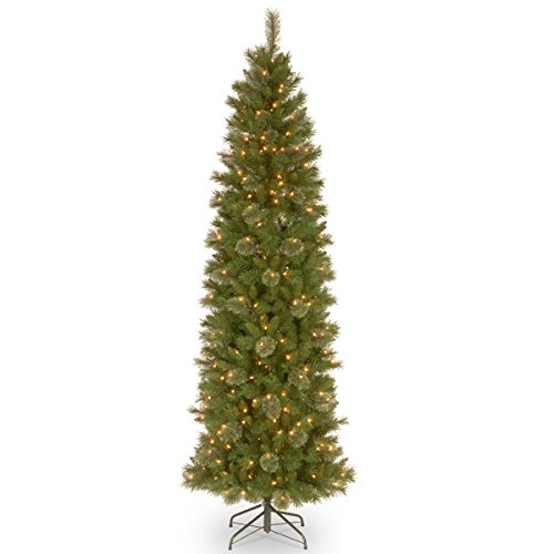 National Tree 7.5 Foot Tacoma Pine Pencil Slim Tree with 350 Clear Lights - 350 Clear Tips Lights