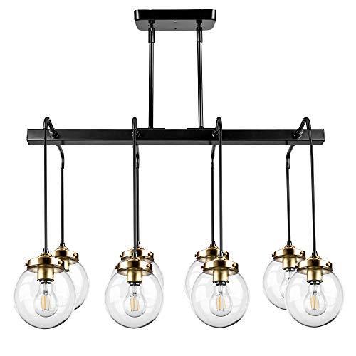 Pendant Light, Morden Fort Rectangle Pendant Light 8 Glass Pendant Lights  Painted Bronze Light for Living Room/Bed Room/Dining Room