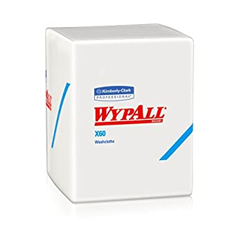 Wypall X60 Hygienic Wipes (41083), Disposable Soft Washcloths & Drying Towels, White, 70 sheet per case, Case of 8