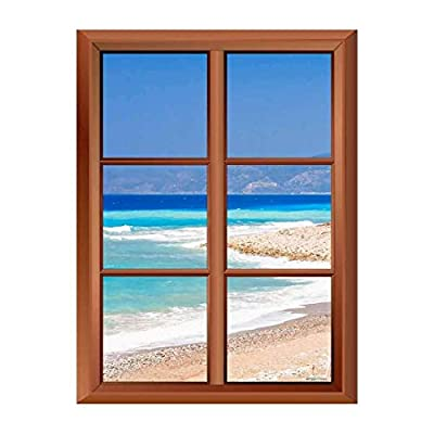 Fascinating Artisanship, Removable Wall Sticker Wall Mural Tropical Beach and Clear Waves Creative Window View Vinyl Sticker, Classic Design