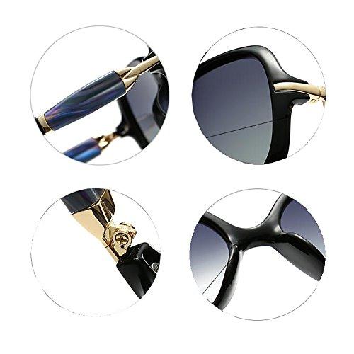 100 Bright Decoración Polarizada UVA UV Patrón Retro Pequeño De Protección gafas Solar black Gafas Conducción Luz WYYY Sra Gafas sol Anti Clásico Color Protección de Borde Sg1UO