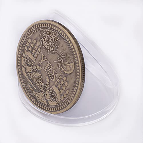 J.CARP Yes No Challenge Commemorative Coin, Collectible Coin, with Protective Case (Bronze, 1PCS)