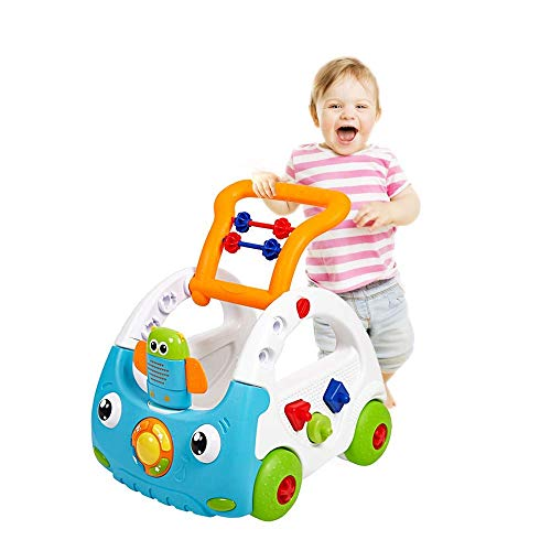 Dporticus 3-in-1 Baby Sit to Stand Interactive Learning Walkers for Babies with Music and Lights