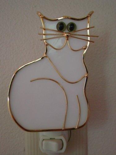 Stained Glass Kitten Cat Night Light - - Cat White Tiffany