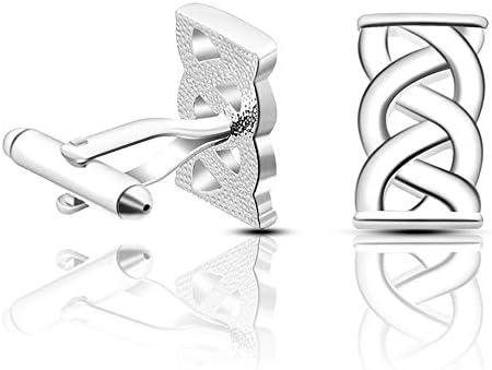 カフリンクス メンズカフリンクスファッションメンズシャツファッションパーソナリティクロスジオメトリーカフリンクス、ビジネスメンズファッションカフスボタンシャツアクセサリー(1色) メンズカフリンクス (色 : Silver, Size : One size)