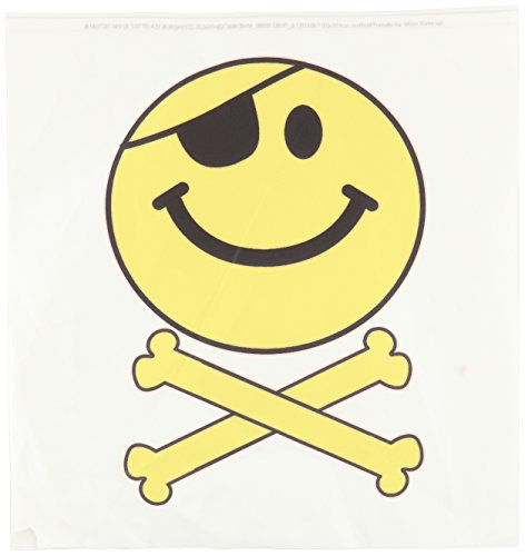 3dRose ht_113097_3 Pirate Smiley Face Yellow Happy Jolly Roger Flag Skull and Crossbones- Iron on Heat Transfer for White Material, 10 by - Jolly Sweatshirt Roger