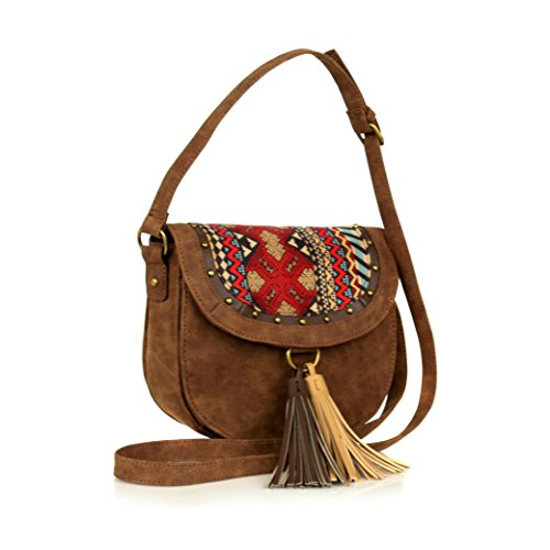 Cognac Faux Suede Native Crossbody, Buckle Strap Saddle Bag w/ Large Tassels