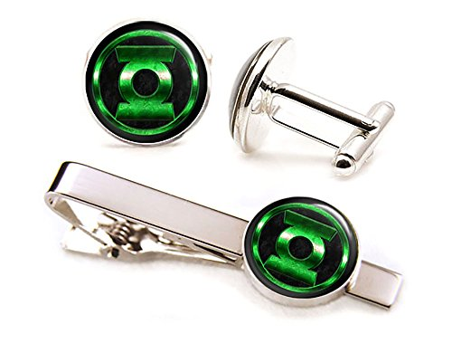 Green Lantern Cufflinks, The Justice League Jewelry, Avengers Tie Clip Tack, Cuff Links Link, Groomsmen Gift Wedding Party