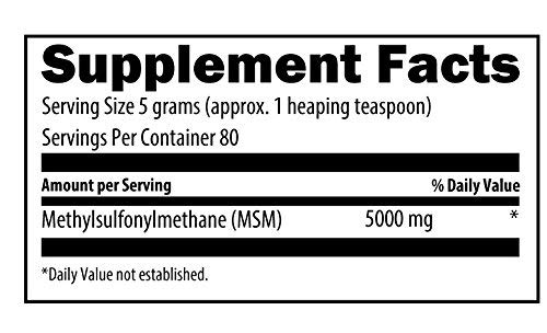 Designs for Health MSM Powder - High 5000mg Dose, Fast Dissolving for Collagen + Immune Support (400g / 80 Servings)