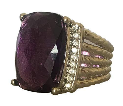 Gempara Designer Inspired Twisted Cable 20x16mm Amethyst Checkerboard Cushion Ring ()