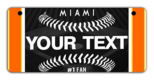 BleuReign(TM) Personalized Custom Name Baseball Miami Motorcycle Moped Golf Cart License Plate Auto Tag