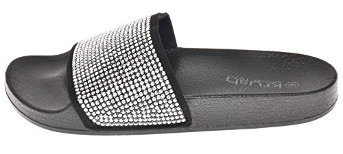 Sliver Diamante Slippers Krush Ladies Shoes Sliders Womens Sandals waq0tzgq