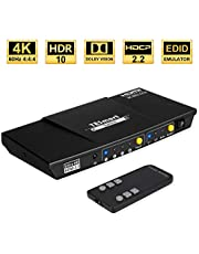 TESmart HDMI Switch 4 Port HDMI Switch 4K @60Hz 4:4:4 HDCP2.2 HDR with IR Remote 2.0/5.1 Audio Output Support Dolby Vision for Xbox One/Fire TV/Laptop/ PS4/Blu-ray Player and More (Black)