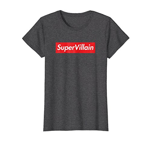 Womens SuperVillain Red Box Logo Shirt Funny Graphic