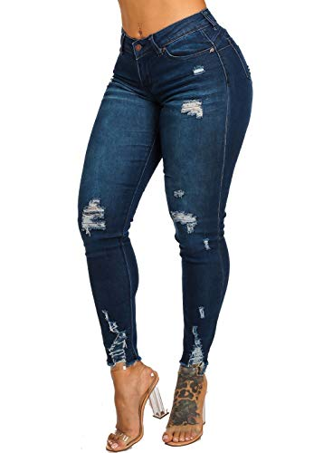 ModaXpressOnline High Rise Butt Lifting 1 Button Distressed Dark Wash Skinny Jeans 10359R