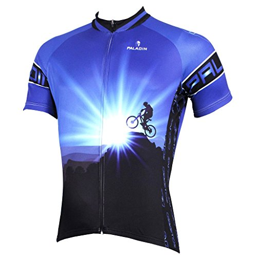 PaladinSport Men's Short Sleeve Cycling Jersey New Style Dawn 100% Polyester Asian Size XL
