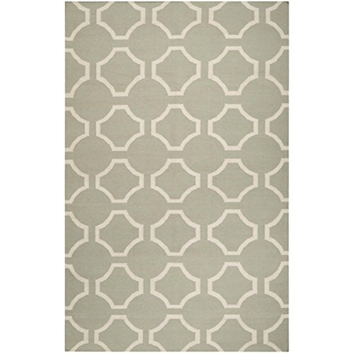 Diva At Home 3.5' x 5.5' Mellow Web Bay Leaf Green and White Hand Woven Wool Area Throw Rug ()