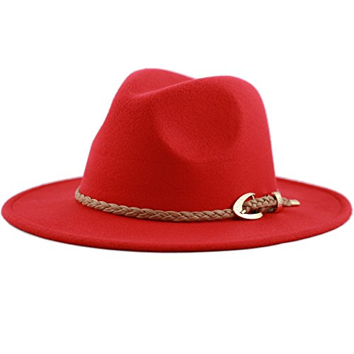 [The Hat Depot Women's Felt Fedora Winter Hat with braided faux leather band (Red)] (Red Felt Cowboy Hat With Band)