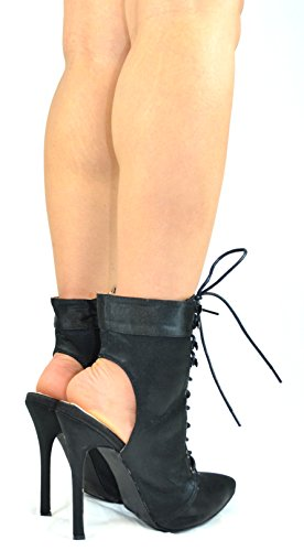 Heeled amp; Pointy 2 Back Satin Chantelle Heel Black Chloe Slim Up Chase Open Womens Toe Sandal Lace 6ndpqqW