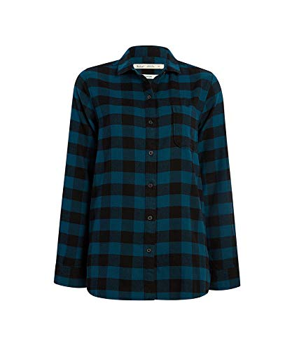 (Woolrich Women's Eco Rich Pemberton Boyfriend Flannel Shirt, Forest Blue,)