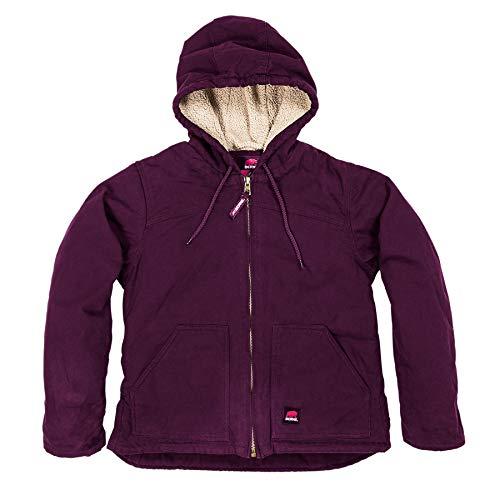 Berne Ladies WHJ43 Washed Hooded Coat - Fine Sherpa Lined, Plum - Medium/Regular