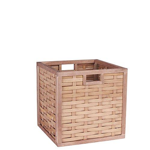 Household Essentials Open Wicker Storage Bin, Natural Poplar, Light Brown
