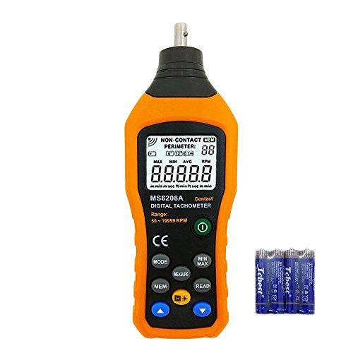 VLIKE Professional Digital Contact Tachometer 50-19999RPM Handheld Tach Meter RPM (Handheld Tachometers)