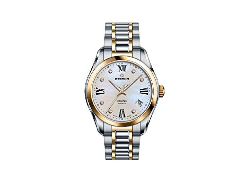 Eterna Lady KonTiki Automatic Watch, SW 200-1, PVD, Diamonds, Mother of pearl