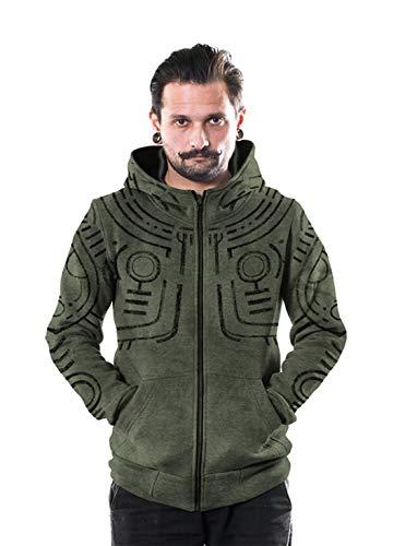 Men's War Paint Hoodie All Over Print Aztec Heavy Green Wash Sweatshirt X-Large ()