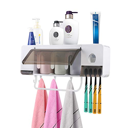 PENGKE Automatic Toothpaste Dispenser Squeezer Wall Mount & Space-Saving Toothbrush Holder and Towel Bars for Bathroom, Include Set of 3 Cups,4 Toothbrush Slot and Bath Makeup Organizer